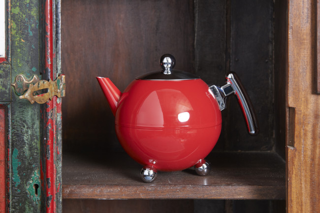 Teapot Duet® Bella Ronde 1,2L, Red Chrome, chromium fittings