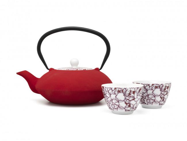 Yantai tea mugs, set of 2, red