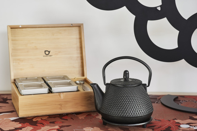Tea box natural bamboo +4 canisters +spoon