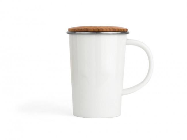 Tea Mug Bamboo 400ml + filter + lid white