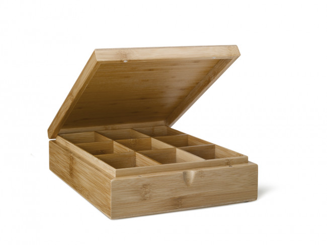 Tea box 9-compartments Bamboo without window