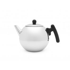 Teekanne Bella Ronde 1,2L mit flachem Boden schwarze Beschl.