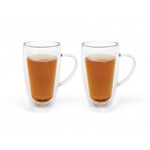 Double walled glass coffee/tea 295ml s/2