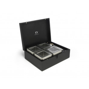 Tea box black with 4 canisters and spoon