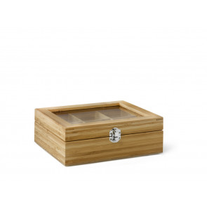 Tea box 6 comp. with window bamboo natural