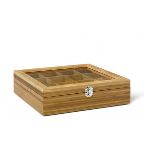 Tea Box 12 comp.with window bamboo natural
