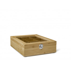 Tea box 9 comp. with window bamboo natural