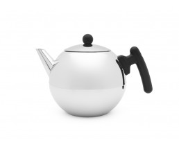 Teapot Bella Ronde 1.2L, flat bottom, black fittings
