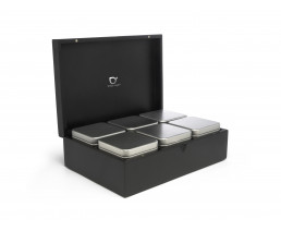 Tea box bamboo black with 6 canisters